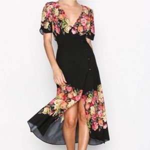 Free People Floral Midi Wrap Dress XS